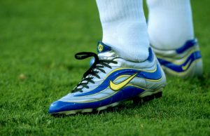 20 Jun 1998:  A close-up of Ronaldo's boots in the match between Brazil v Norway in the 1998 World Cup played in Marseille, France  Mandatory Credit: Ben Radford /Allsport